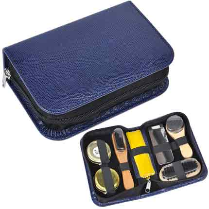 Набор для чистки одежды и обуви в пенале (7 предметов), синий