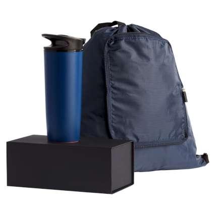 """Набор """"inMotion"""": термостакан и складной рюкзак, в подарочной упаковке, цвет синий"""