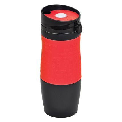 "Термокружка вакуумная ""УДАЧА"",  400 мл, корпус чёрный, цвет манжеты красный"