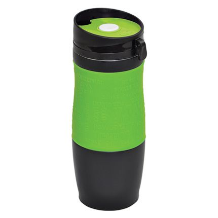 "Термокружка вакуумная ""УДАЧА"",  400 мл, корпус чёрный, цвет манжеты зеленый"