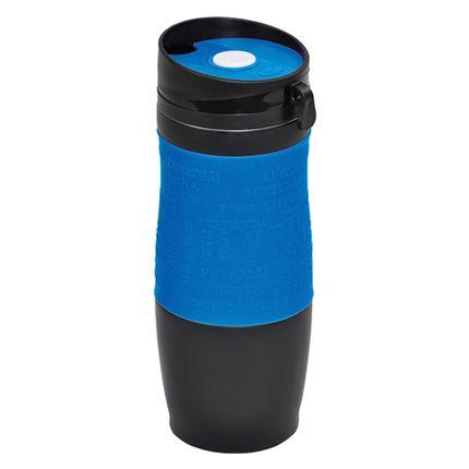 """Термокружка вакуумная """"УДАЧА"""",  400 мл, корпус чёрный, цвет манжеты  синий"""