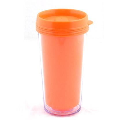 """Термостакан (кружка) из пластика, со съёмной полиграфической вставкой """"Фрост"""", 473 мл, оранжевый"""