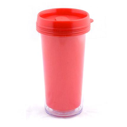 """Термостакан (кружка) из пластика, со съёмной полиграфической вставкой """"Фрост"""", 473 мл, красный"""
