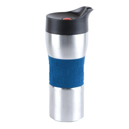 """Термостакан вакуумный (кружка) """"Уберто"""" с двойными стенками из нержавеющей стали и кнопкой, 370 мл, серебряный корпус с синей силиконовой манжетой"""