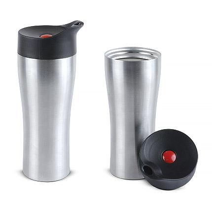 """Термостакан вакуумный (кружка) """"Фабио"""" с двойными стенками из нержавеющей стали, 370 мл, кнопка красная, корпус серебряный"""