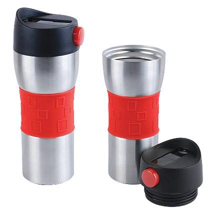 """Термостакан (кружка) """"Витале"""" с двойными стенками и кнопкой, 370 мл, цвет корпуса серебряный, красная силиконовая манжета"""