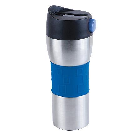 """Термостакан (кружка) """"Витале"""" с двойными стенками и кнопкой, 370 мл, цвет корпуса серебряный, серебряный, синяя силиконовая манжета"""