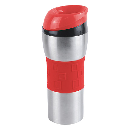 """Термостакан вакуумный (кружка) """"Донато"""" с двойными стенками из нержавеющей стали, 370 мл, цвет силиконовой манжеты и верхней части крышки красный"""