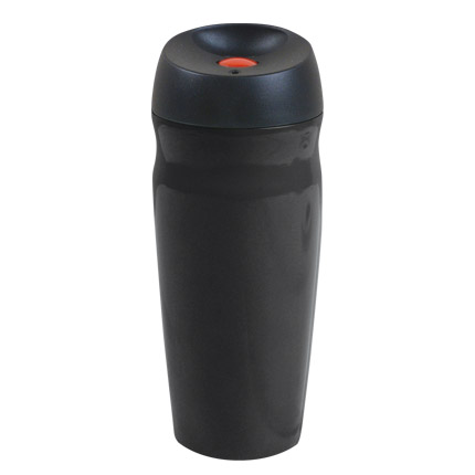 """Термостакан вакуумный (кружка) """"Коррадо"""" с двойными стенками из нержавеющей стали, 370 мл, кнопка красная, корпус чёрный"""