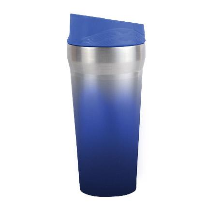 """Термостакан (кружка) """"БЛЮ СКАЙ"""", металл, 420 мл, с резиновой присоской на дне, цвет синий с градиентом"""