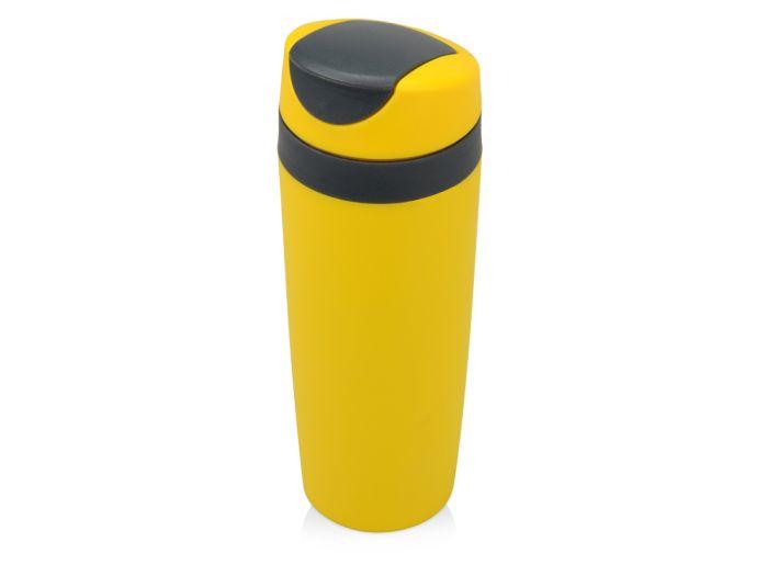 """Термокружка """"Лайт"""", объём 450 мл, цвет чёрный с жёлтым"""