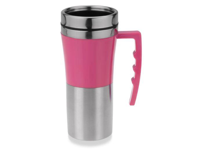 """Термокружка """"Адель"""", объём 450 мл, цвет серебристый с розовым"""