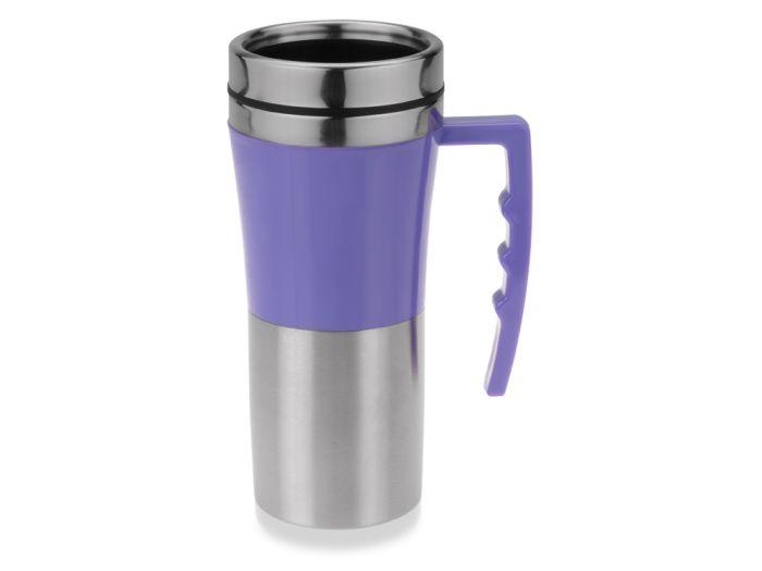 """Термокружка """"Адель"""", объём 450 мл, цвет серебристый с фиолетовым"""