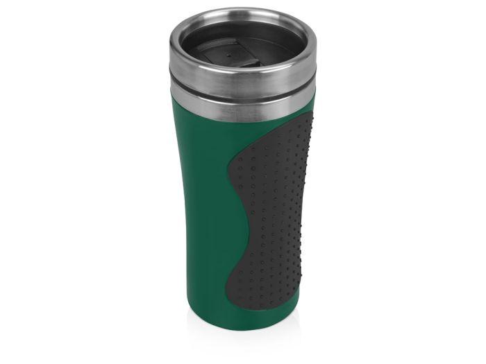 """Термокружка """"Олимпия"""", объём 450 мл, цвет чёрный с зелёным"""
