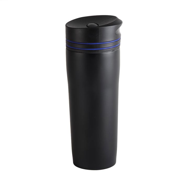 """Термокружка вакуумная """"Stripe"""", 380 мл, цвет чёрный с синим"""