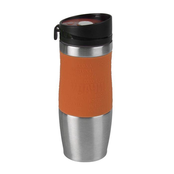 """Термокружка вакуумная """"УДАЧА silver"""", 0,4 л, цвет оранжевый"""