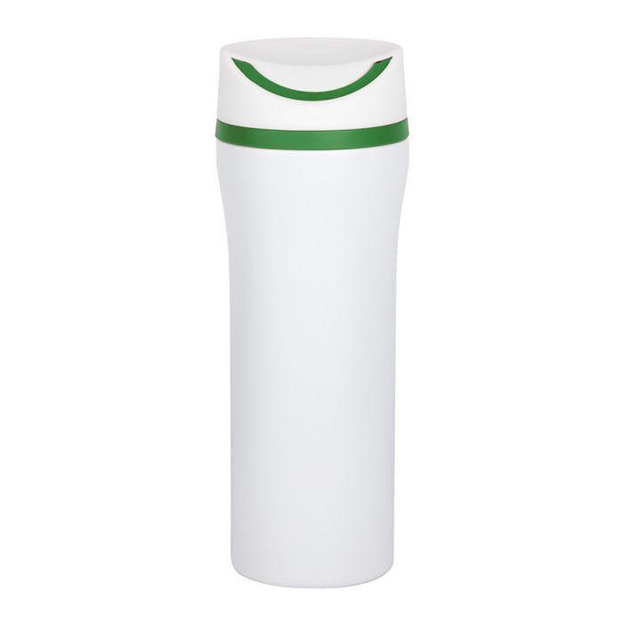 Термокружка вакуумная Unique, 450 мл, цвет белый с зелёным