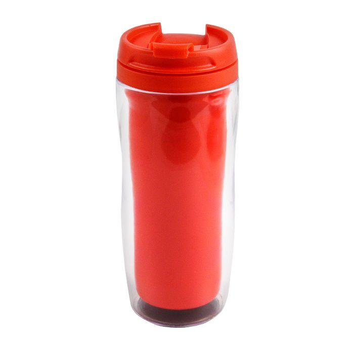 """Термостакан (кружка) """"Фанат"""" под полиграфическую вставку, 350 мл, пластик, цвет красный"""