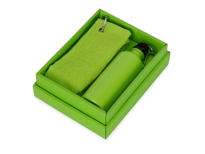 """Набор """"Фитнес"""": фляжка на 500 мл и полотенце 50х31 см, цвет зелёное-яблоко"""