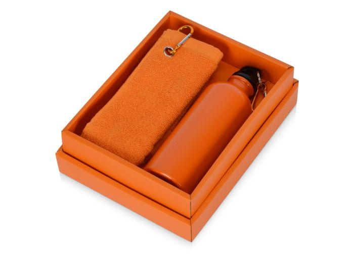 """Набор """"Фитнес"""": фляжка на 500 мл и полотенце 50х31 см, цвет оранжевый"""