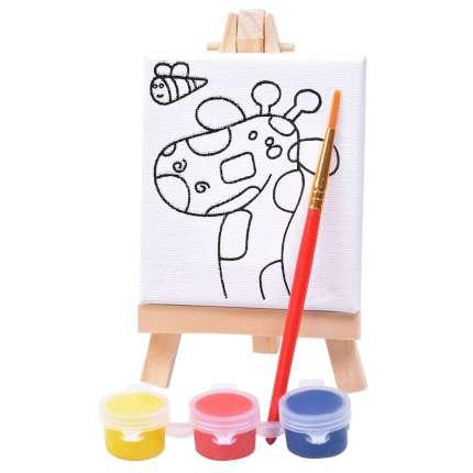 """Набор для раскраски """"Жираф"""": холст, мольберт, кисть, краски 3 шт"""