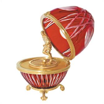 "Яйцо ""Футболист"" хрусталь, красное (лупа)"