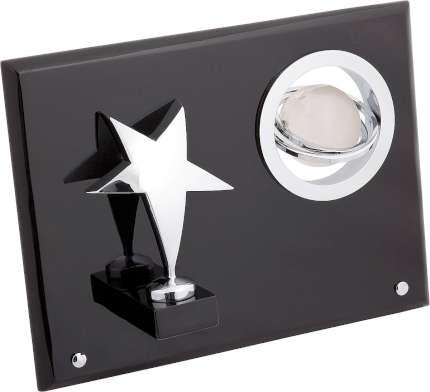 """Плакетка """"Звезда"""" с глобусом, Linea del Tempo, (цвет серебряный, чёрный) (A01SBL)"""