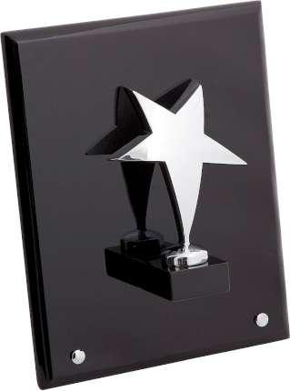 """Плакетка """"Звезда"""" на деревянной раме, Linea del Tempo, (цвет серебряный, чёрный) (A02SBL)"""