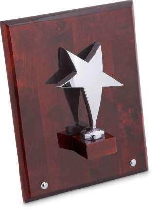 """Плакетка """"Звезда"""" на деревянной раме, Linea del Tempo, (цвет серебряный, коричневый) (A02SBR)"""