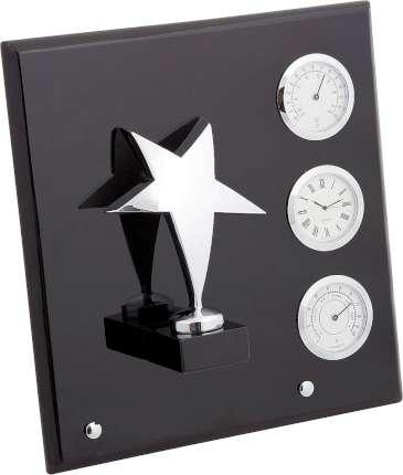 """Плакетка """"Звезда"""" часы, термометр, гигрометр, Linea del Tempo, (цвет серебряный, чёрный) (A03SBL)"""