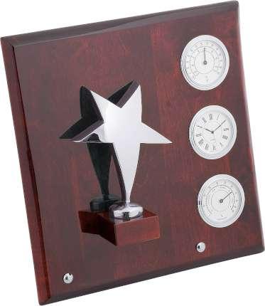 """Плакетка """"Звезда"""" часы, термометр, гигрометр, Linea del Tempo, (цвет серебряный, коричневый) (A03SBR)"""