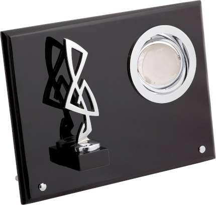 """Плакетка """"Скрипичный ключ"""" с глобусом, Linea del Tempo, (цвет чёрный, серебряный) (S01SBL)"""