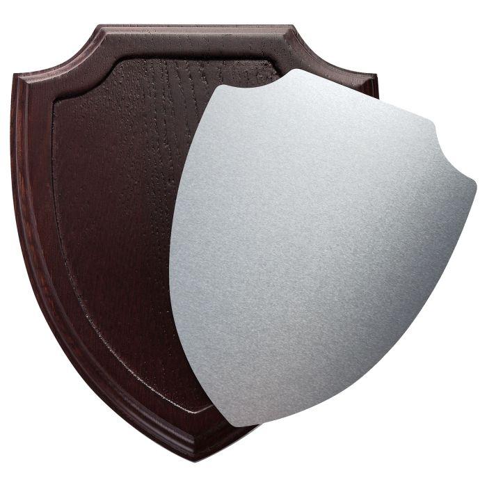 Плакетка под гравировку и сублимацию Honor Silver, в форме щита, размер 20х24х2 см, основа коричневая, пластина серебристая