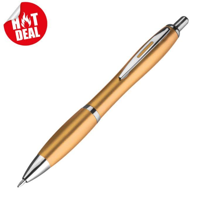 Пластиковая шариковая ручка с металлическим клипом, цвет золотистый металлик (M Collection)